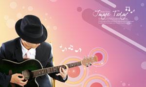 戴帽子在弹吉他的男人PSD分层素材