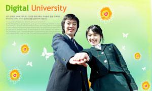 蝴蝶等图案与学生人物PSD分层素材