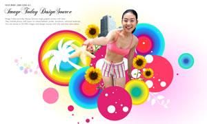 时尚圆圈图案与美女等PSD分层素材