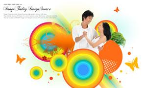 圓圈圖案與情侶人物等PSD分層素材