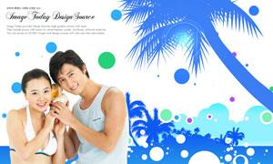 椰树剪影与情侣人物等PSD分层素材