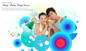 时尚圆圈图案与人物等PSD分层素材