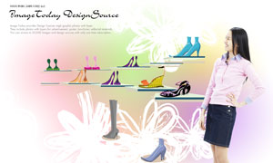 鞋子与叉腰状美女人物PSD分层素材