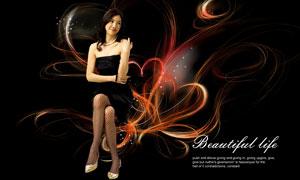 線條圖案與抹胸裙美女PSD分層素材