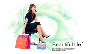 綠色線條與購物美女等PSD分層素材