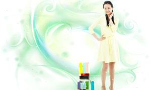 炫麗線條裝飾與美女等PSD分層素材