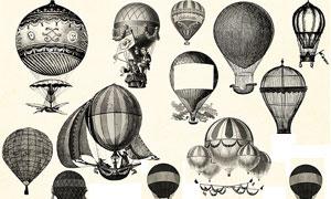 欧美复古的热气球和飞艇笔刷