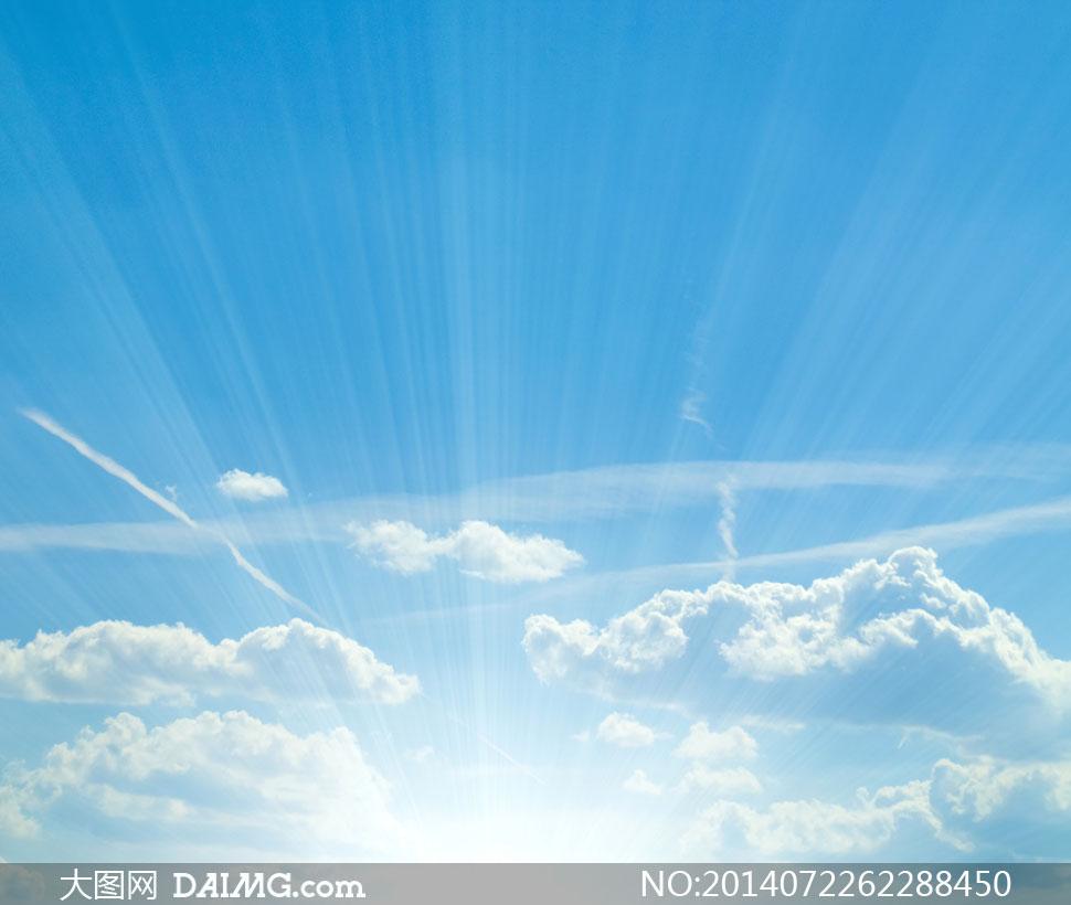 蓝天白云阳光彩虹风景摄影高清图片 素材