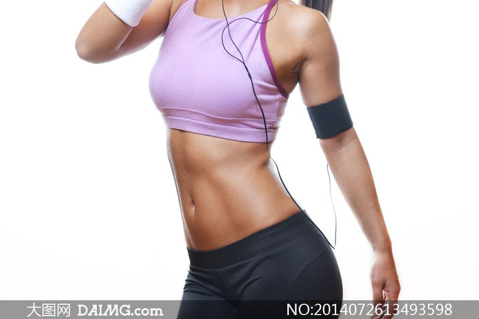 穿紫色的运动文胸美女局部高清图片