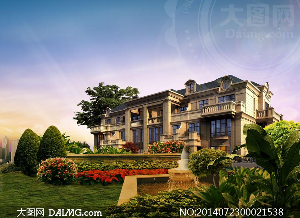 欧式别墅景观图设计psd分层素材