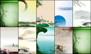 中国风传统水墨展板背景PSD源文件
