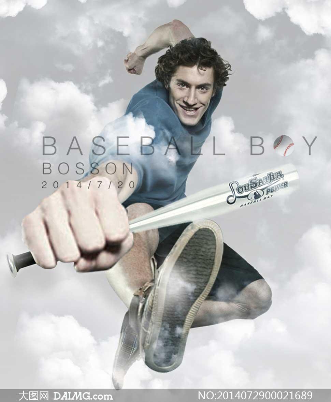创意的棒球男孩海报ps教程素材