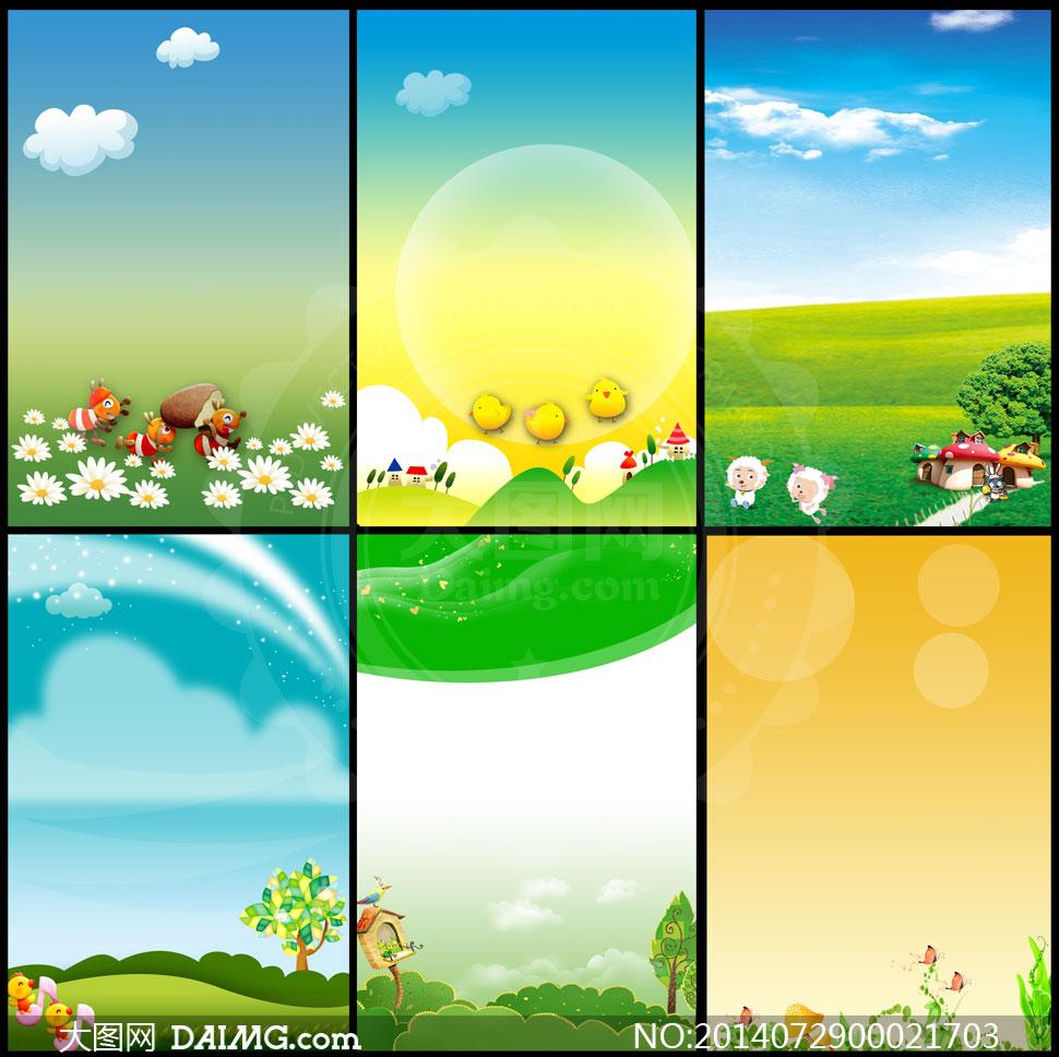 幼儿园卡通展板卡通背景简洁背景简约背景蓝天白云草地小花小树光晕