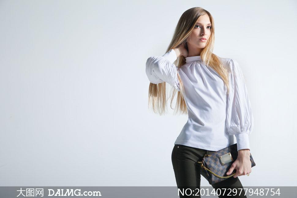 衬衫手绘女性模特