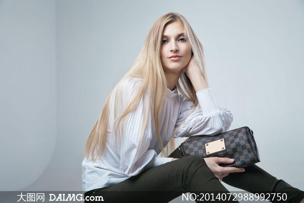 披肩长发美女模特人物摄影高清图片图片