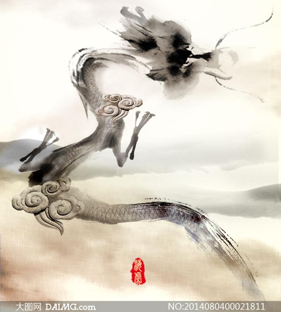 中国风水墨龙设计psd分层素材