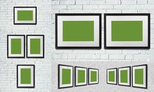 悬挂在墙上的画框贴图模板设计素材