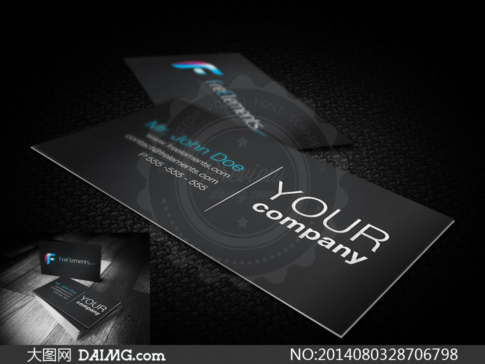 产品效果图应用效果图透视效果图贴图模板名片设计黑色皮革纹理木板