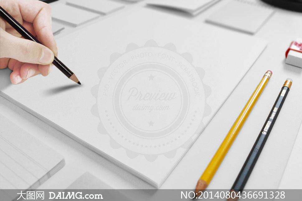智能对象效果展示产品效果图应用效果图透视效果图贴图模板铅笔手势