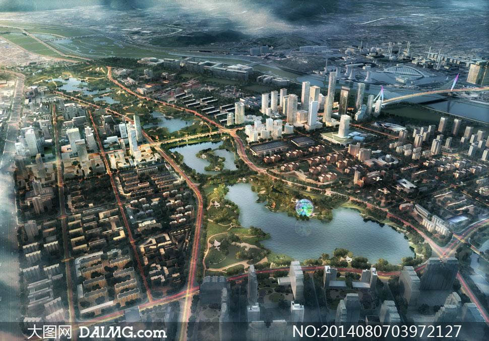 城市规划项目鸟瞰效果psd分层素材