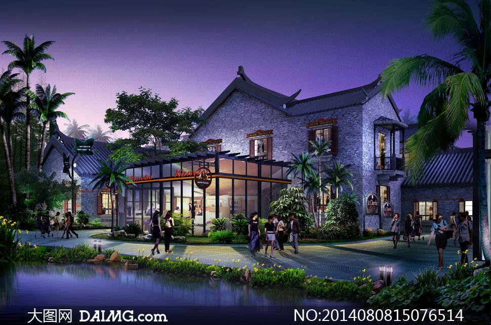 小区建筑物与绿化景观psd分层素材         高层楼房小区