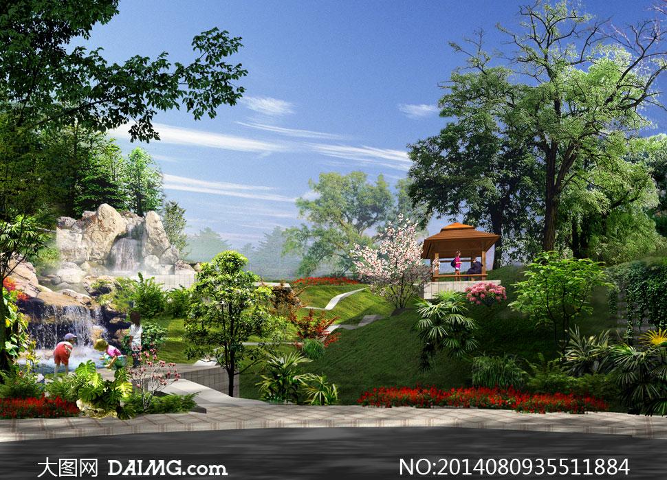 公园假山树木景观效果psd分层素材