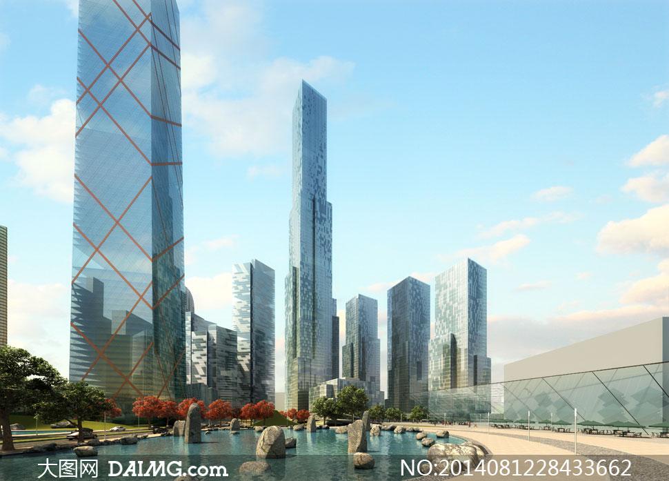 蓝天白云城市高楼大厦psd分层素材