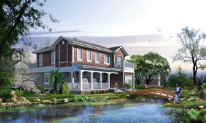 房子与河面上的木桥等PSD分层素材
