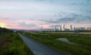 远处城市建筑群与荒地PSD分层素材