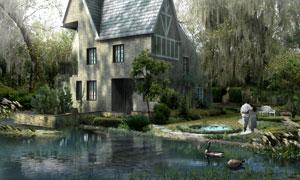 小河边别墅景观效果图PSD分层素材