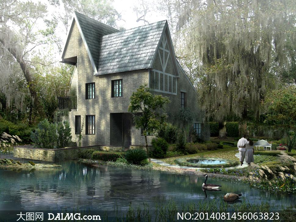 效果图景观图后期设计水晶石源文件建筑物房子别墅树木大树树林绿化