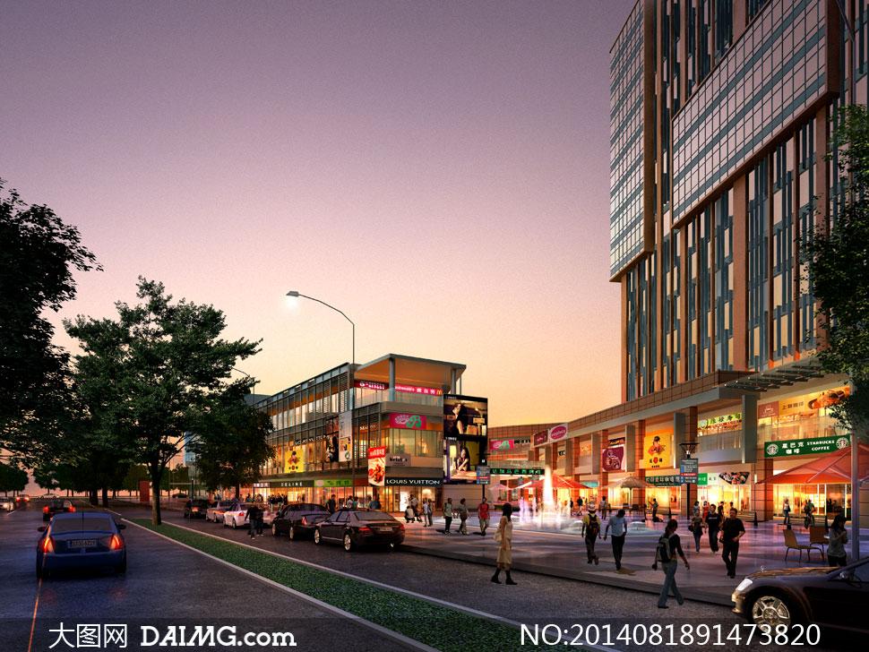 商铺商场喷泉灯光照明大楼楼房路灯大树树木绿树汽车