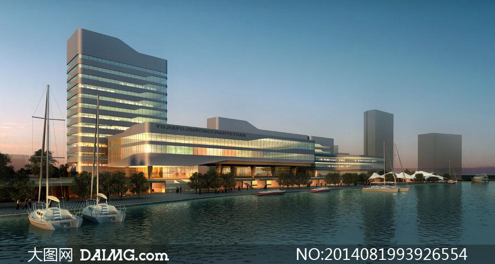 产业园大楼照明效果图psd分层素材 - 大图网设计素材图片