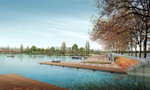 蓝天白云湖畔自然风光PSD分层素材
