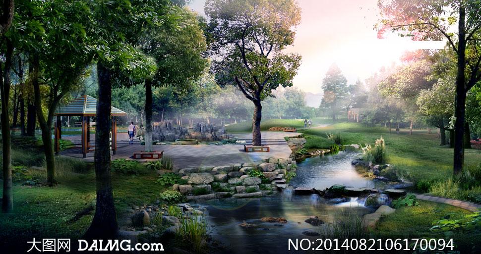 溪流效果图手绘