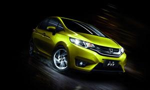 帅气的黄色本田汽车设计图片素材