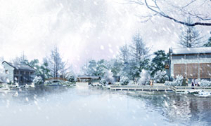 飞舞雪花中的树木房子PSD分层素材