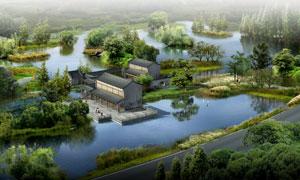 被湖水包围的仿古建筑PSD分层素材