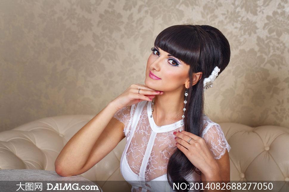 齐刘海儿黑发美女人物摄影高清图片 大图网设