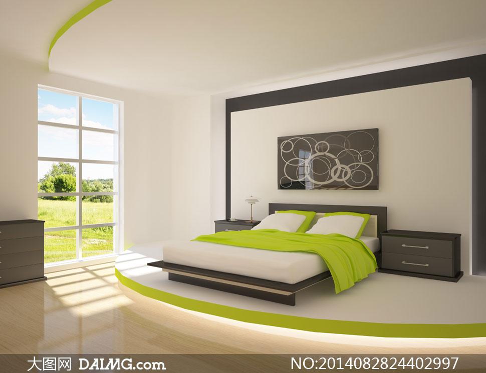 卧室大床装饰画与窗户摄影高清图片