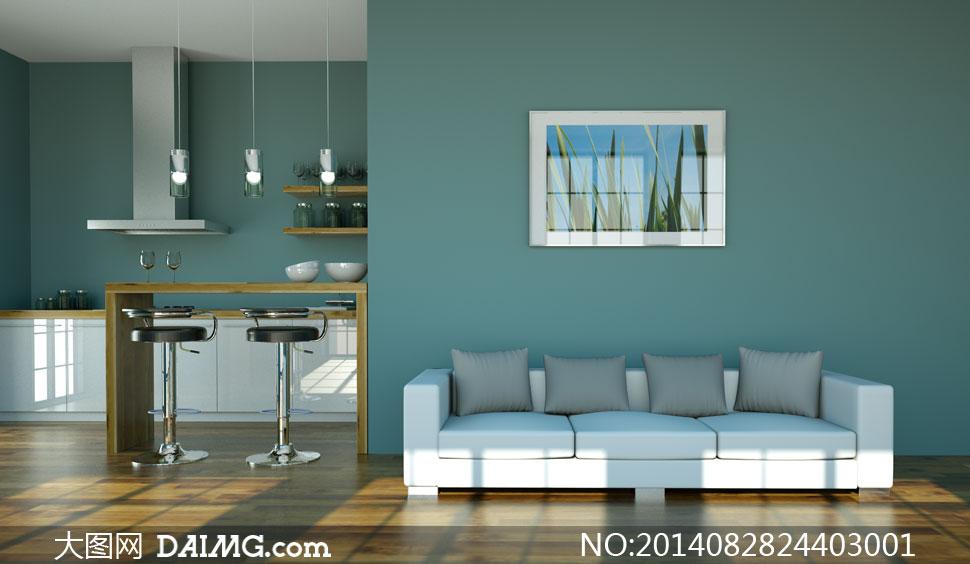 客厅沙发与开放式厨房摄影高清图片