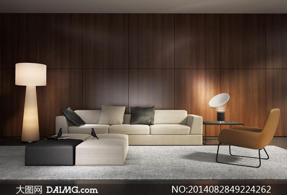 房间里的沙发椅子枕头摄影高清图片
