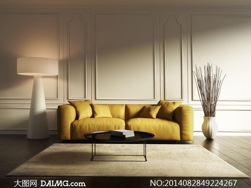 木地板干枝装饰品沙发枕头抱枕靠枕茶几书籍灯具