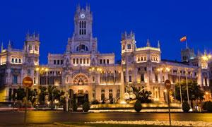 西班牙马德里建筑夜景摄影高清图片