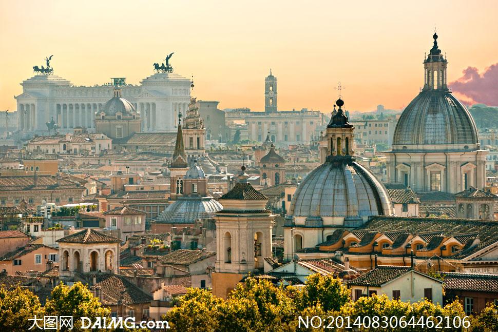 意大利罗马建筑物鸟瞰摄影高清图片