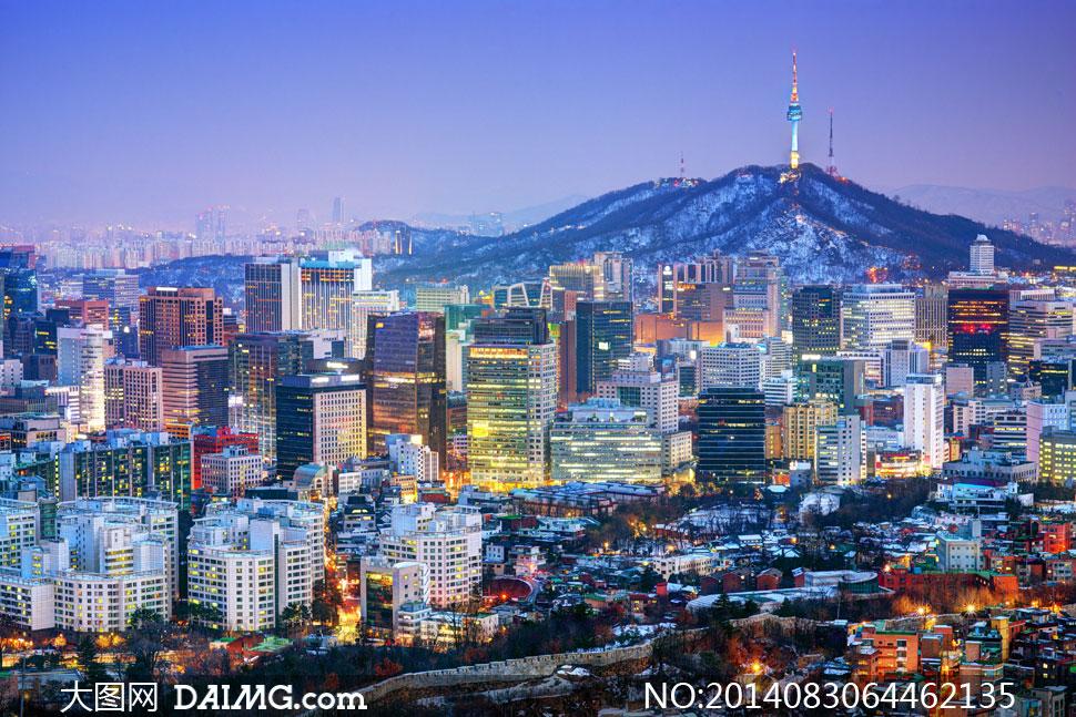 韩国首尔繁华城市夜景摄影高清图片