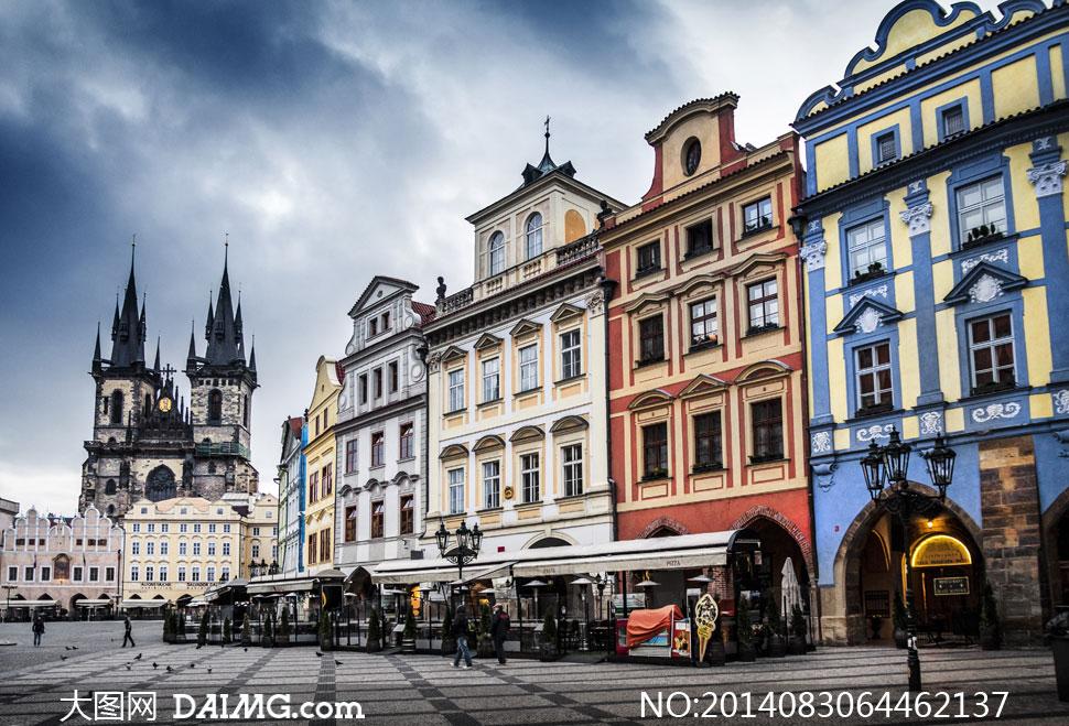 风景建筑物建筑群捷克布拉格提恩教堂旧城广场旅游