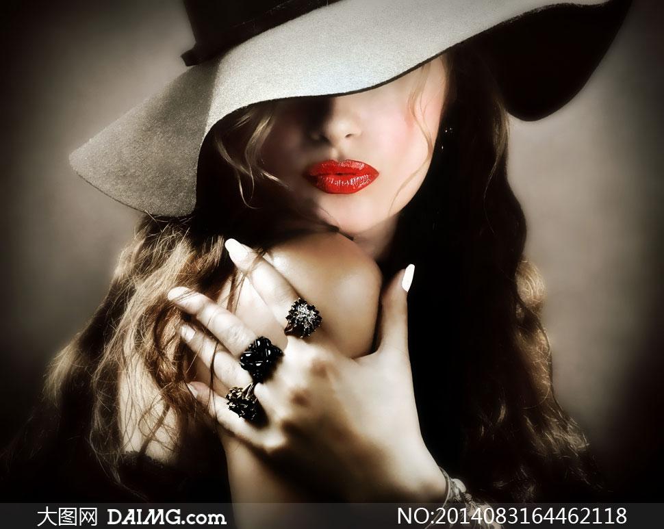 戴着荷叶边帽子的美女摄影高清图片 大图网设