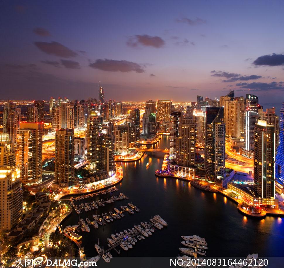 迪拜塔高清大图下载_迪拜流光溢彩城市夜景摄影高清图片 - 大图网素材daimg.com