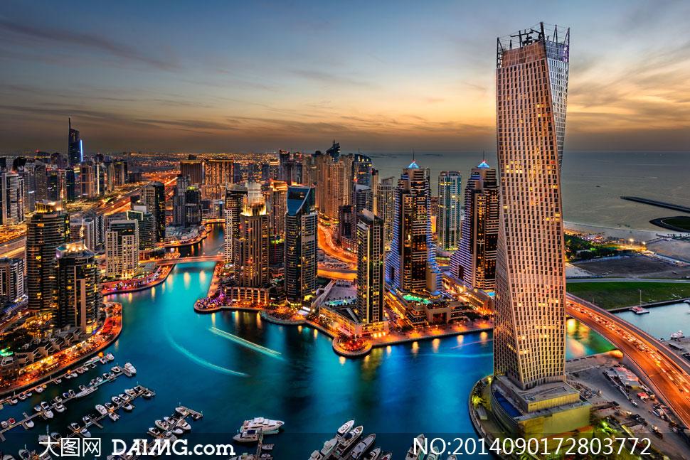 黄昏迪拜高楼大厦风光摄影高清图片